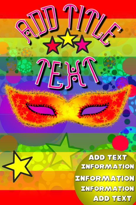 colorfull mask with balls and stars and pride