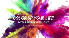 Colour Color Splash Explosion Banner Advert Видеообложка профиля Facebook (16:9) template