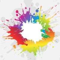 Colourful paint splash background Persegi (1:1) template