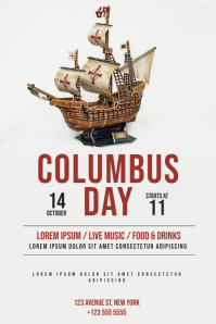 Columbus Day Party flyer template Poster