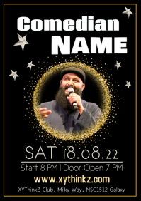 Comedian Artist Stand up Comedy Event Flyer Poster stars A4 template