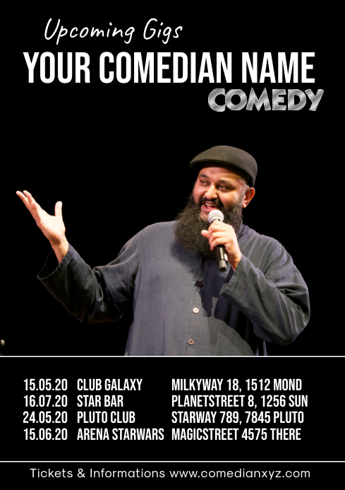 Comedian Stand up Comedy Gigs Tour Artist Performer A4 template