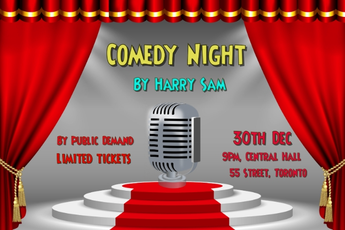 Comedy, concert, event flyer poster Cartaz template