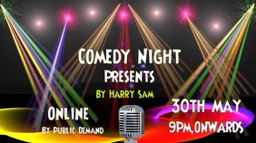 Comedy, concert, event flyer poster Digital Display (16:9) template