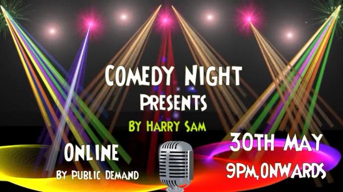 Comedy, concert, event flyer poster Ekran reklamowy (16:9) template