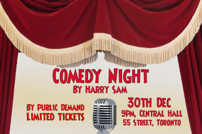 Comedy, concert, event flyer poster