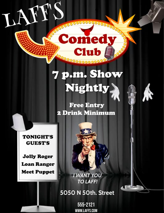 COMEDY CLUB Flyer (Letter pang-US) template