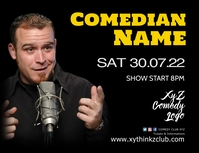 Comedy Comedian Stand up Show Plays Club Ad Volante (Carta US) template