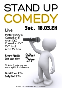Comedy Event Flyer Poster Template Microphone funny