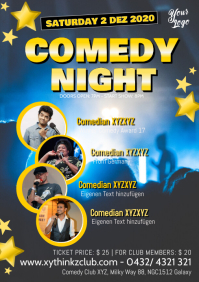 Comedy Night Comedian Star Artists Show Ad A4 template