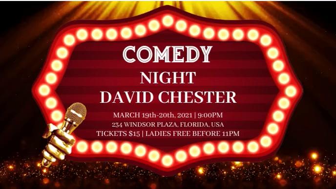 Comedy Night Vídeo de capa do Facebook (16:9) template