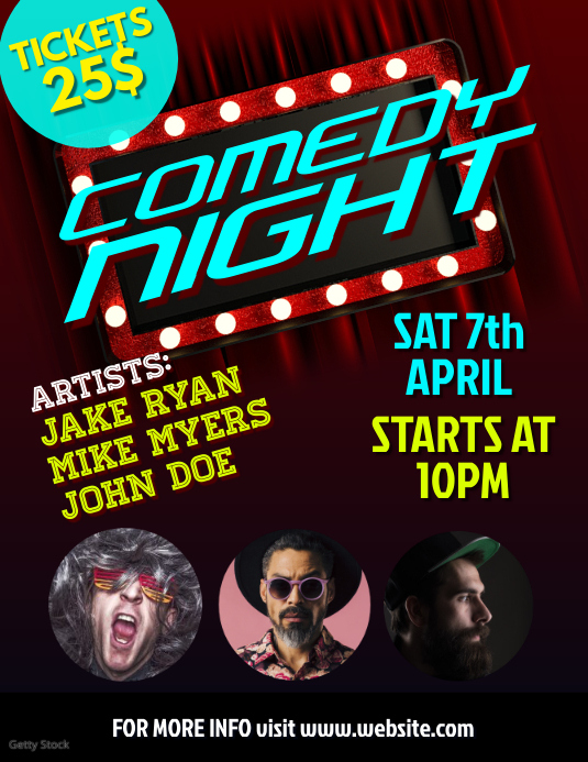 Comedy night ใบปลิว (US Letter) template