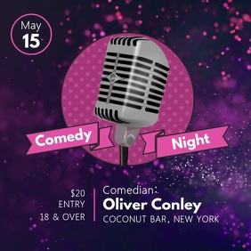 Purple and Pink Comedy Night Square Video