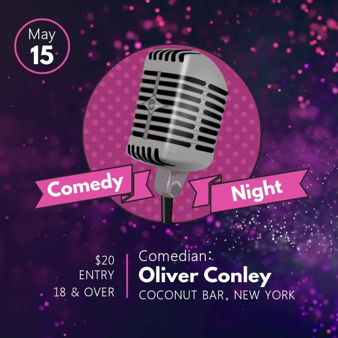 Purple and Pink Comedy Night Square Video Quadrado (1:1) template