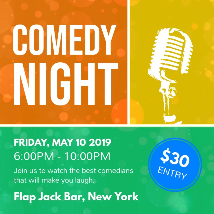 Comedy Night Event Colorful Square Video