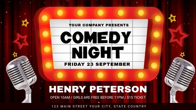 Comedy Night Event Facebook Cover Video