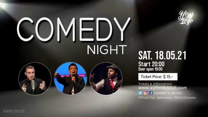 Comedy Night Event invitation Cover Header Ad วิดีโอหน้าปก Facebook (16:9) template