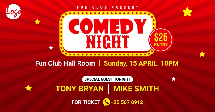 Comedy night facebook ad template