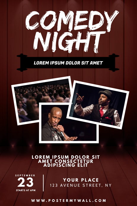 Comedy Night Flyer Design Template Cartaz