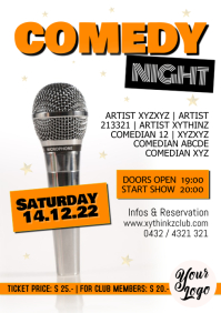 Comedy Night Flyer Poster Invitation Advert A4 template