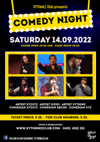 Comedy Night Flyer Poster Template Event Ad A4