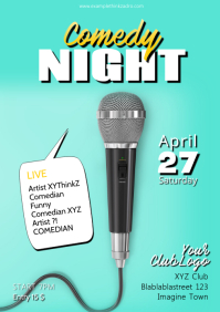 Comedy Night Flyer Poster Template microphone