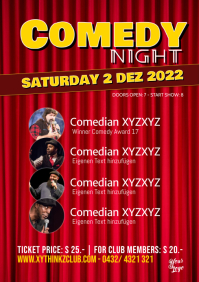 Comedy Night Flyer Poster Template Stage Red Curtain