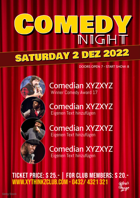 Comedy Night Flyer Poster Template Stage Red Curtain A4