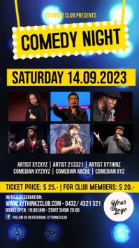 Comedy Night Flyer Poster Template Video Ad