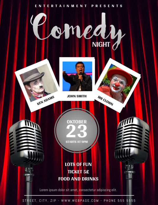 Comedy Night Flyer Template Ulotka (US Letter)