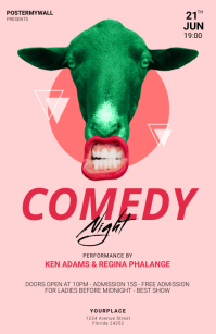 comedy night flyer template Tabloid