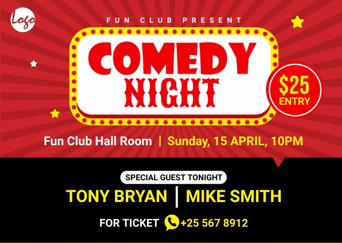 Comedy night postcard Postkarte template