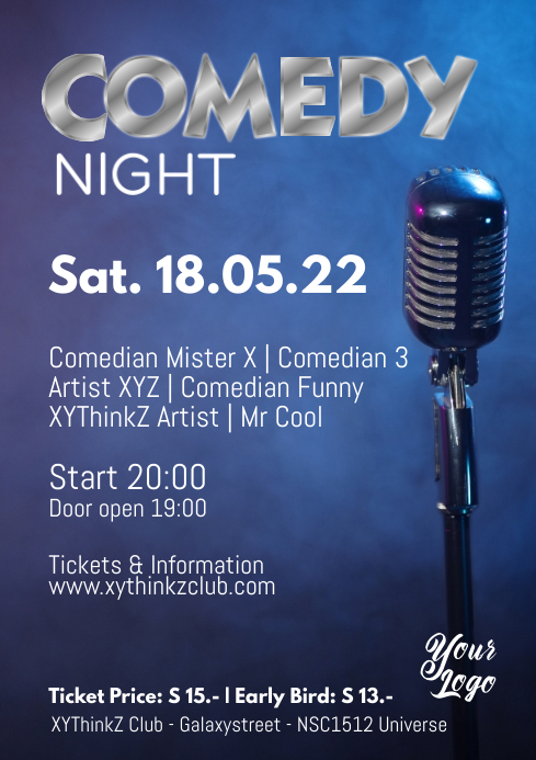 Comedy Night Poster Flyer Micro Stage Advert A4 template