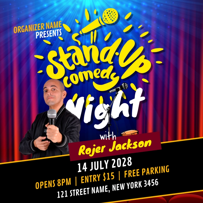 Comedy Night Show Ad Instagram-opslag template