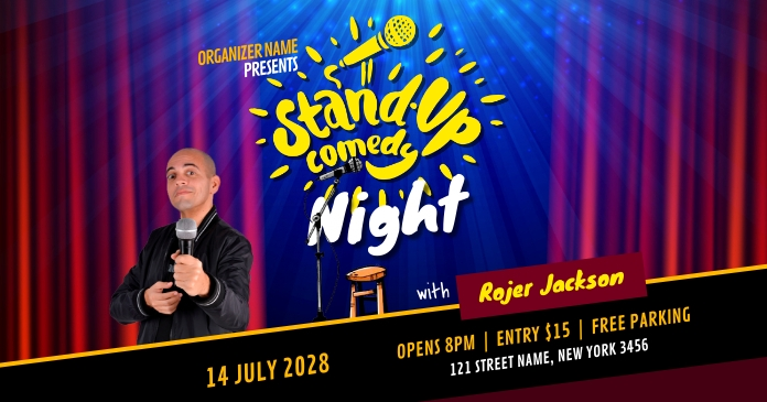 Comedy Night Show delt Facebook-billede template
