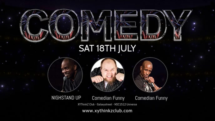 Comedy Night Show Event Comedian Stand up Ad วิดีโอหน้าปก Facebook (16:9) template