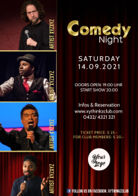 Comedy Night Show Event Flyer Poster Artists A4 template