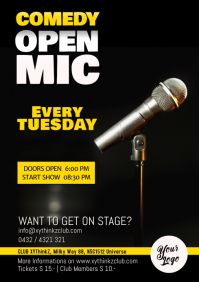 Comedy Open Mic Flyer Poster Microphone Event