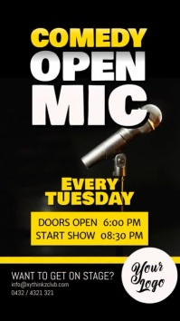 Comedy Open Mic Microphone Event story ad template