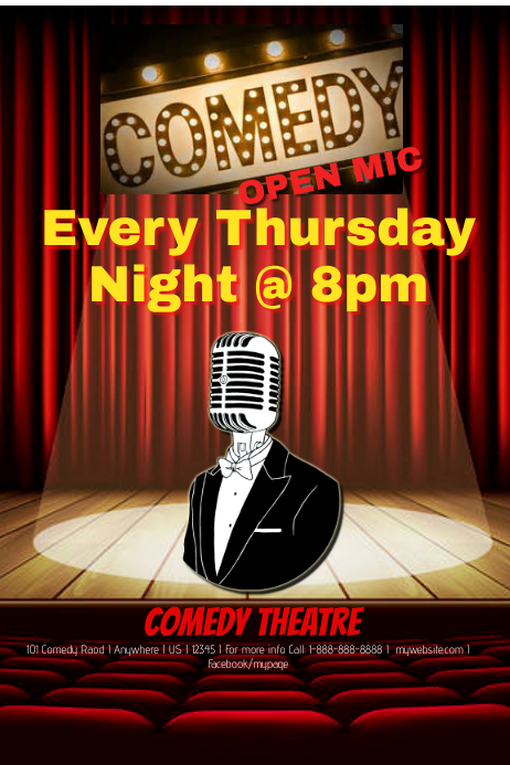 Comedy Open Mic Night Template  Postermywall
