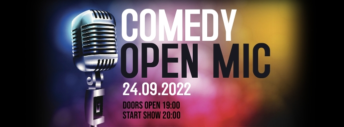 Comedy open mic night show stand up ad banner รูปภาพหน้าปก Facebook template