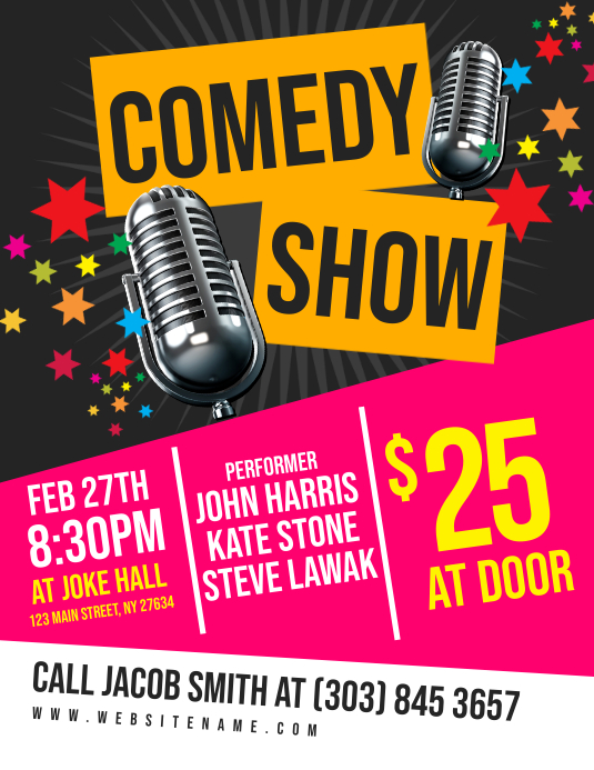 Comedy Show Flyer Folder (US Letter) template