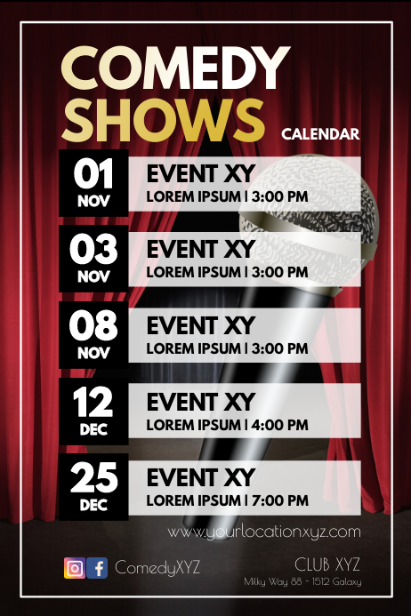 Comedy Shows Upcoming Gigs Acts Calendar ad Poster template
