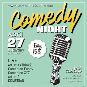Comedy Stand up Night Event Poster Template Microphone