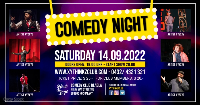 Comedy Stand up Night Show Add Event Template Anuncio de Facebook