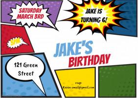 Comic Book Birthday Card