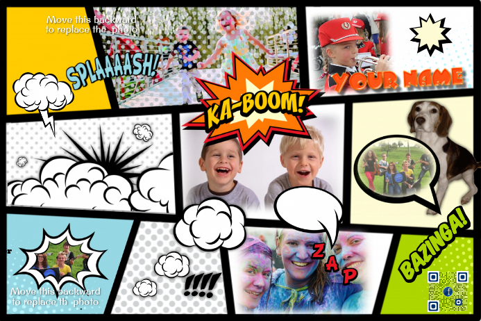 Comic book photo collage replace photos by using your for Comic book page template psd