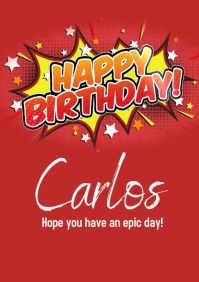 Comic Happy Birthday Greeting Video A4 template