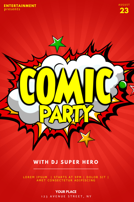 Comic Party Flyer Template