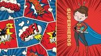 Comic Superhero Ecrã digital (16:9) template